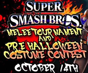 octobers event will feature super smash bros melee cash and other prizes will be awarded to the winners dont forget to wear your costume for your
